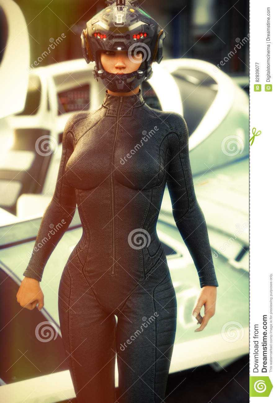 Science Fiction female pilot wearing helmet and uniform returning from a mission with space ship in background.