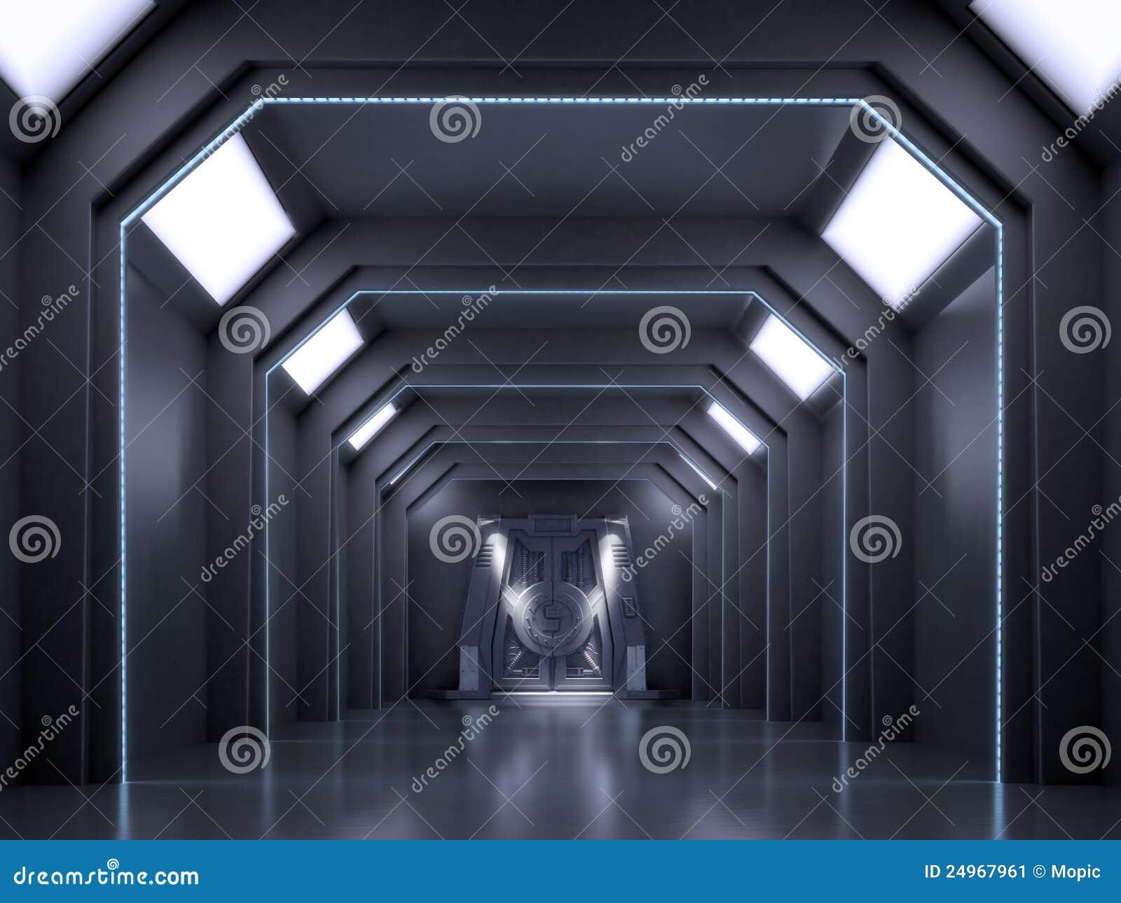 Science fiction interior scene sci fi dark corridor