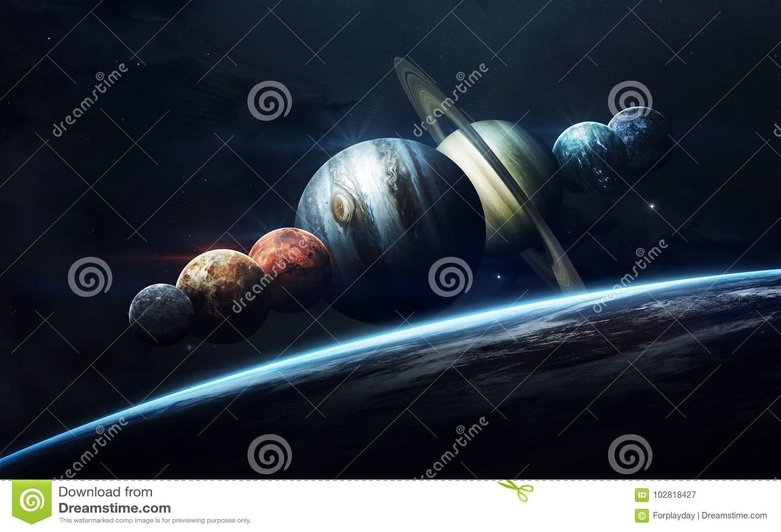 Science fiction ruimtebehang, ongelooflijk mooie planeten, melkwegen Elementen van dit die beeld door NASA wordt geleverd