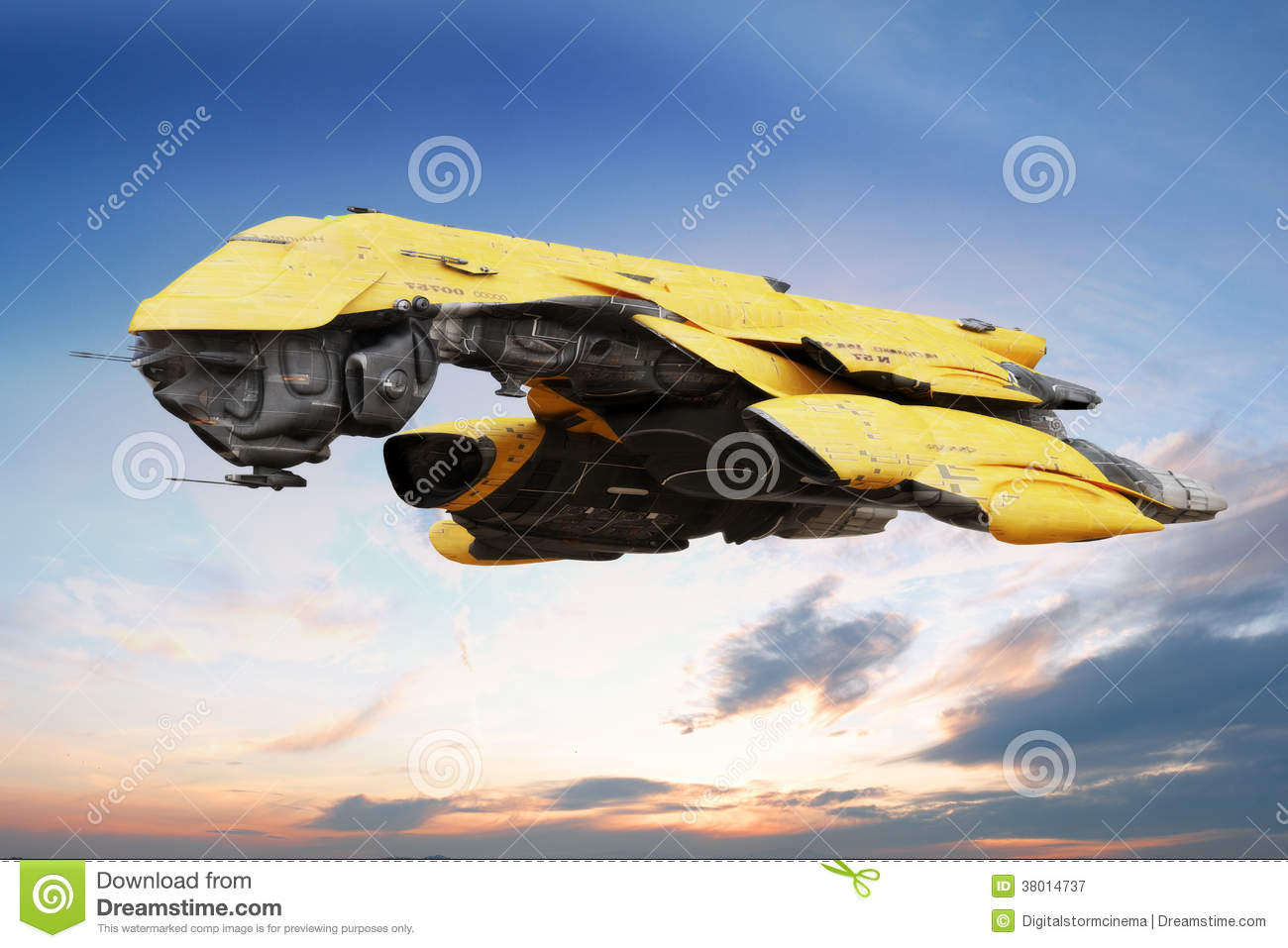 Science fiction scene of a futuristic ship flying through the atmosphere.
