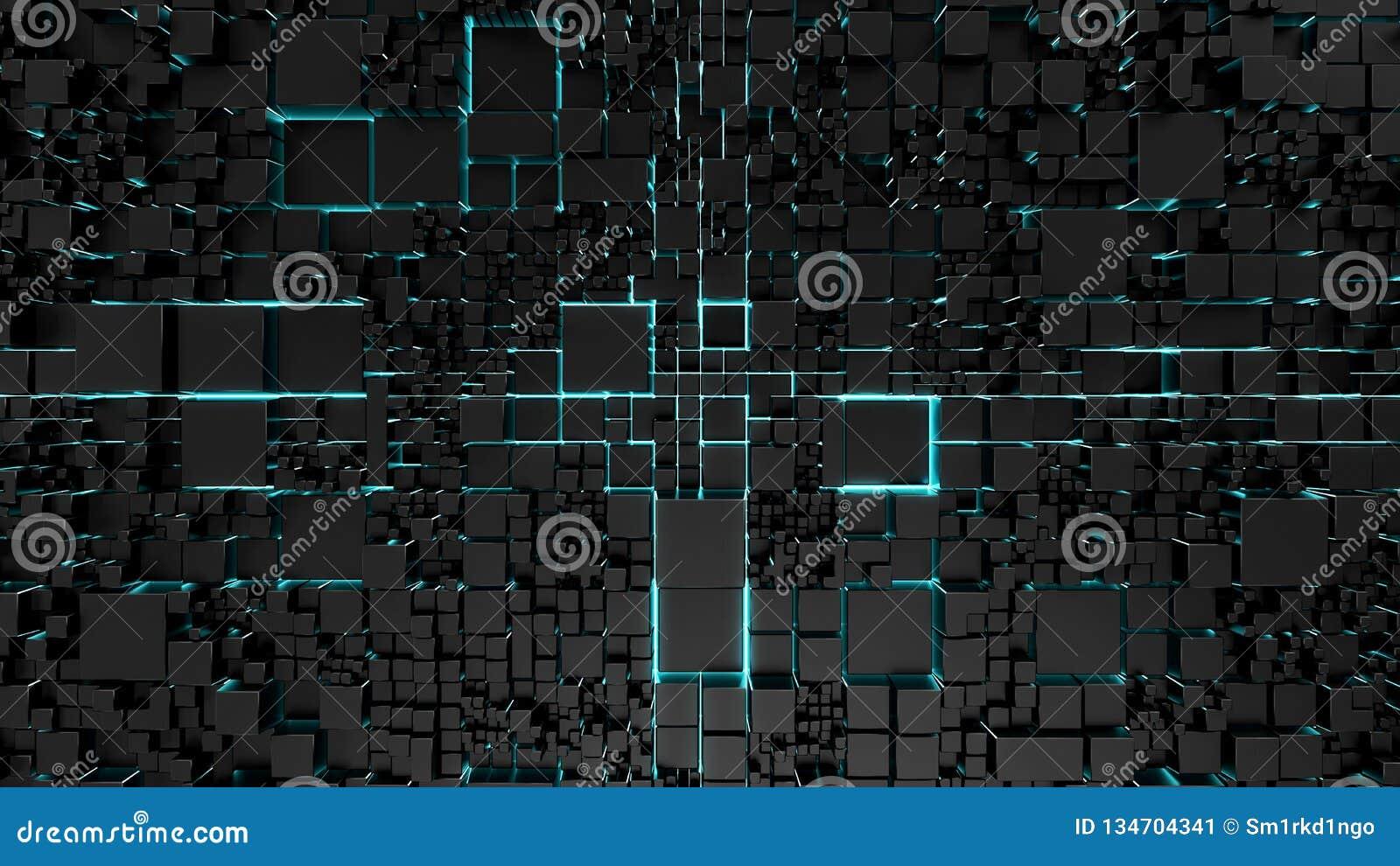 Science fictionteknologibakgrund med blå neonbelysning