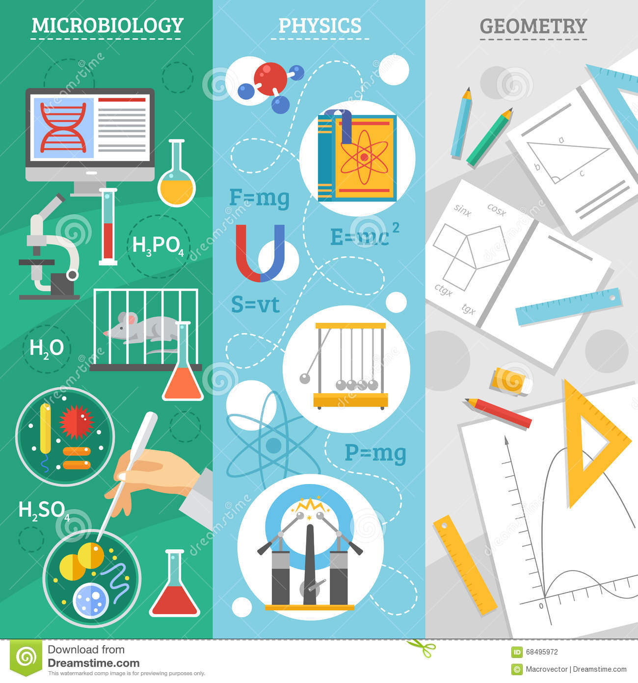 Flat Physics Science Equipment And Symbols Stock Vector ...
