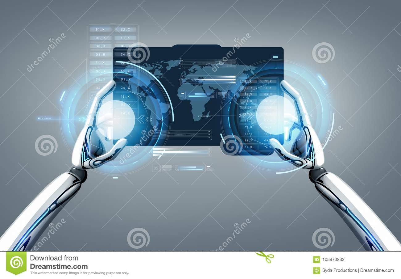Robot hands with world map on tablet pc screen stock illustration download robot hands with world map on tablet pc screen stock illustration illustration of digital gumiabroncs Images