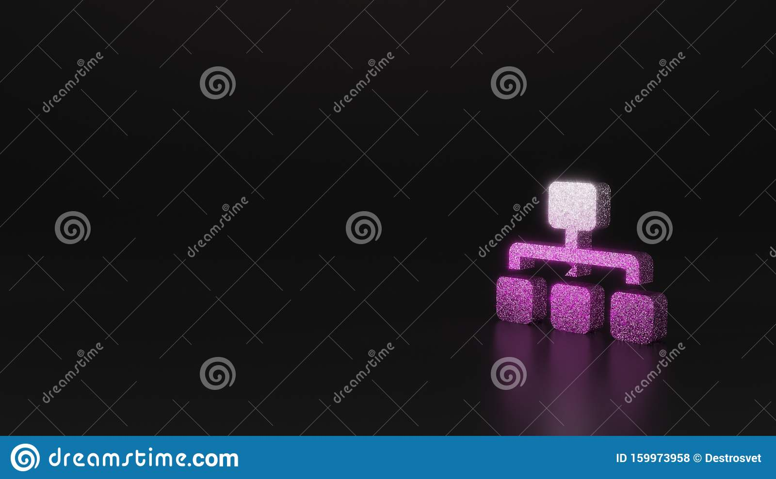 science glitter symbol of sitemap icon 3D rendering