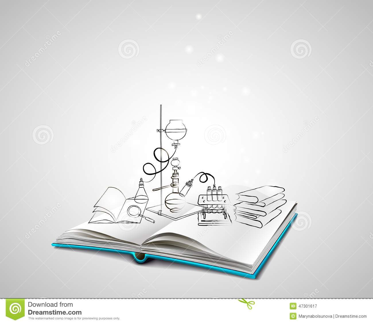 Drawing Bookcover Design: Science Icons Doodles Chemical Laboratory Stock Vector