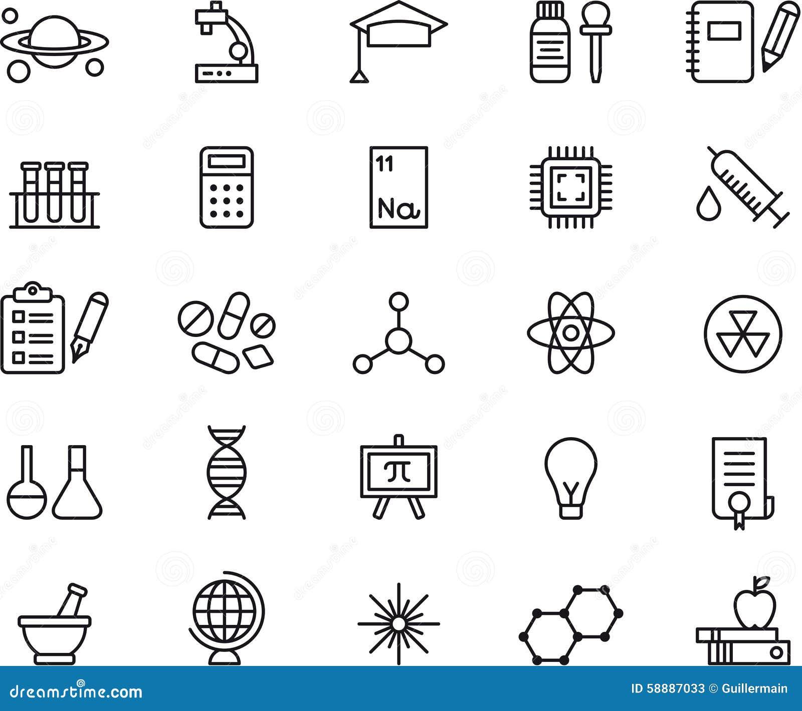 science icons stock vector  illustration of light  mortar
