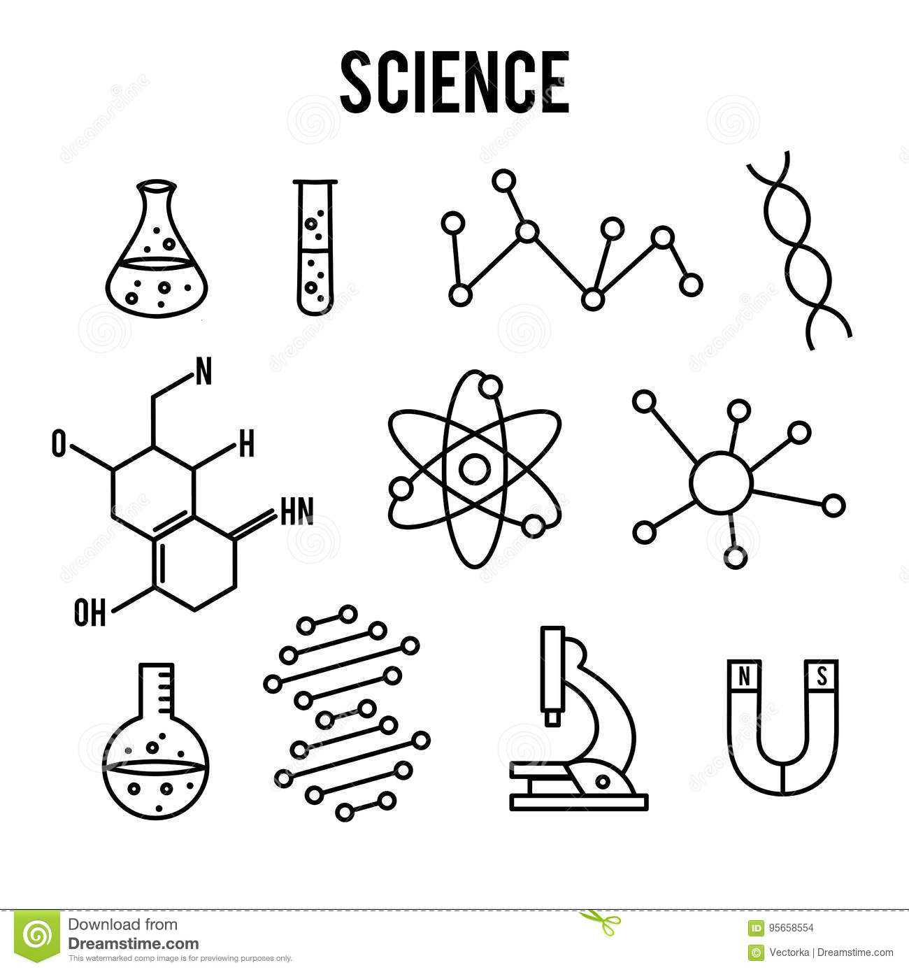 Science Icons On White Background  Research Outline Icon