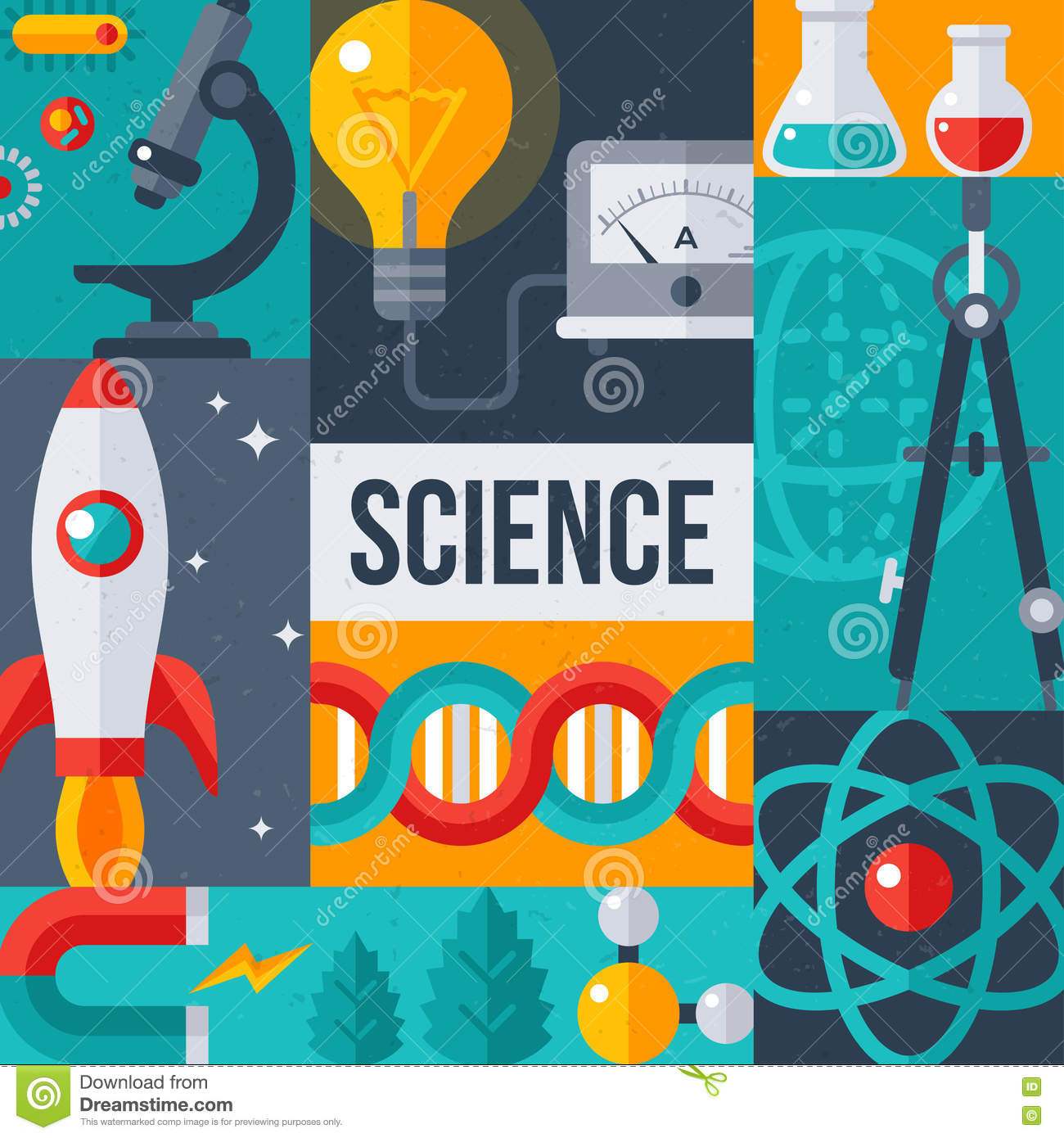 science laboratory research creative poster stock vector