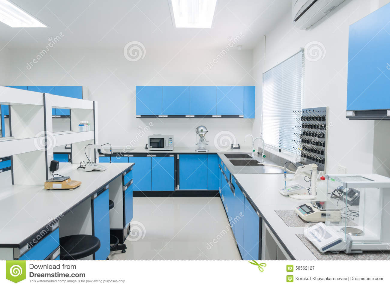 Science Modern Lab Interior Architecture Stock Photo