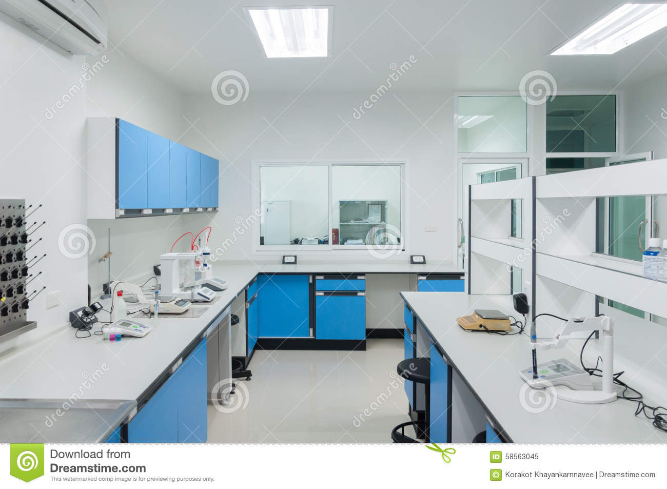 Science modern lab interior architecture stock photo for Interior decoration in home science