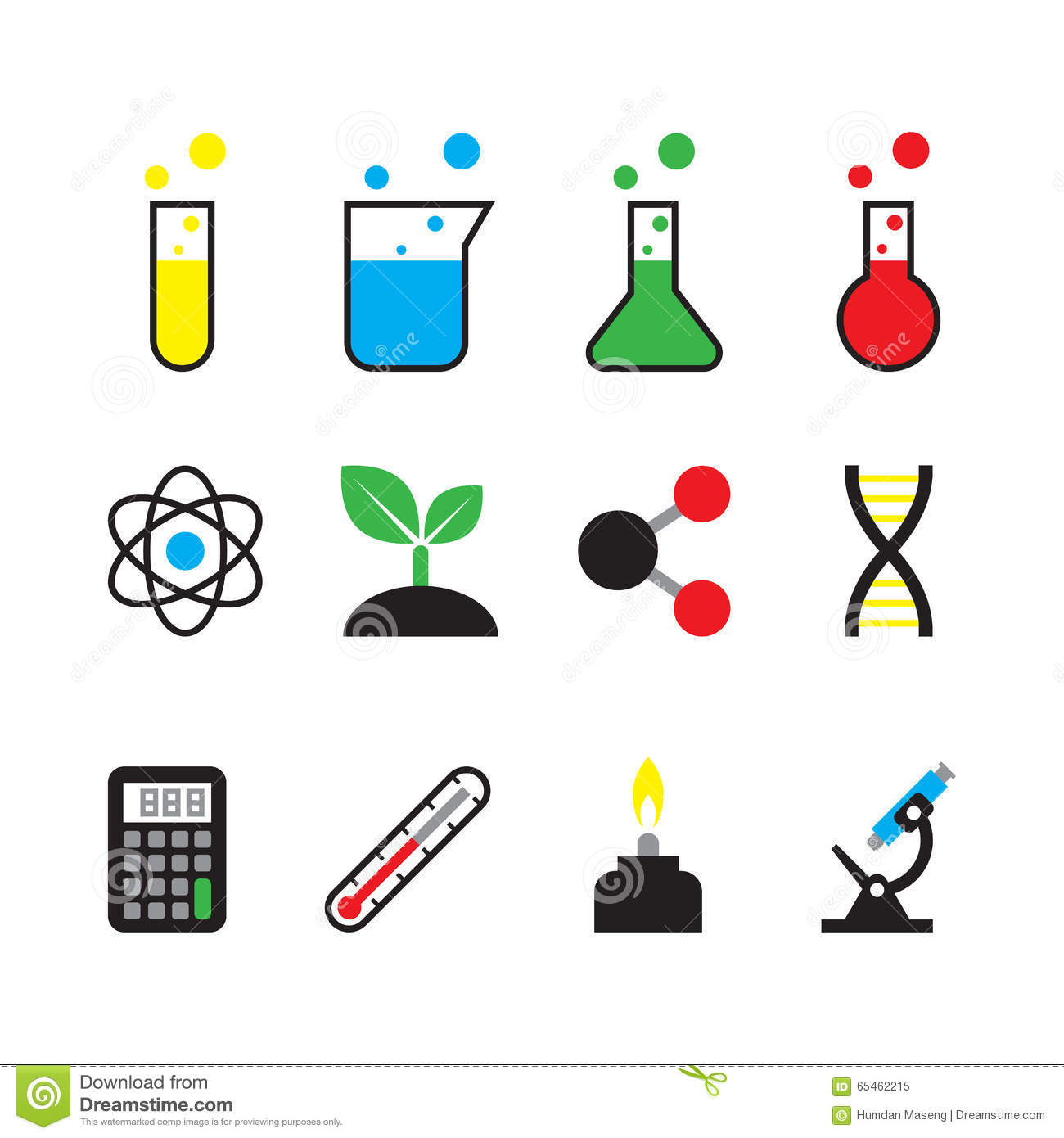 science object icon set stock vector illustration of flask 65462215