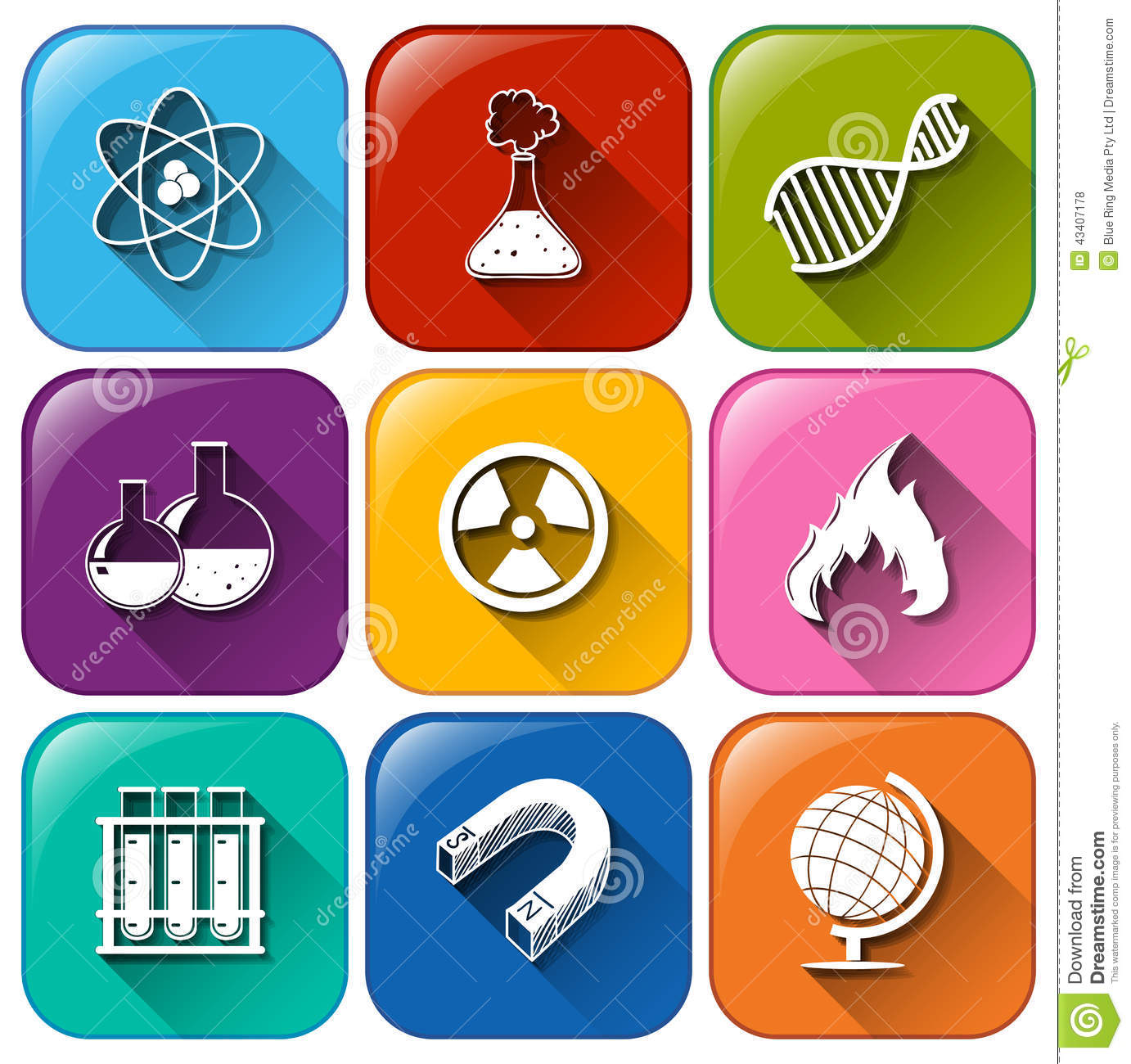 science object icons stock vector illustration of magnet 43407178