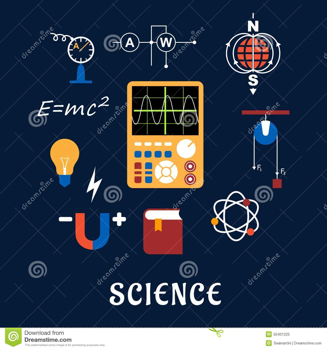 Science Physics From: Science Physics Flat Icons Set Stock Vector