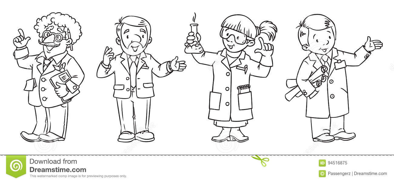 science professions coloring book set stock vector