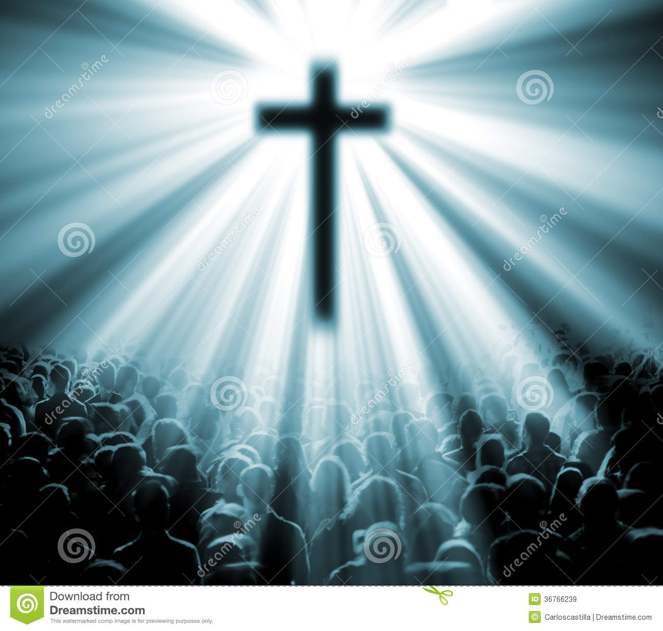 Christian religion. Illustration with cross of christ and believers.