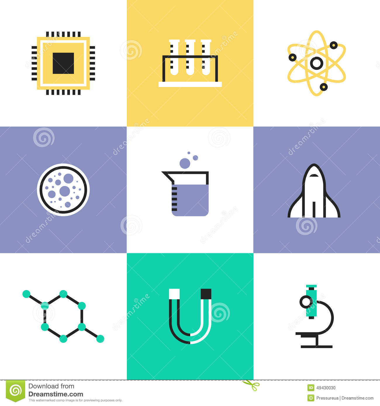 Science Research And Biology Pictogram Icons Set Stock Vector - Image ...