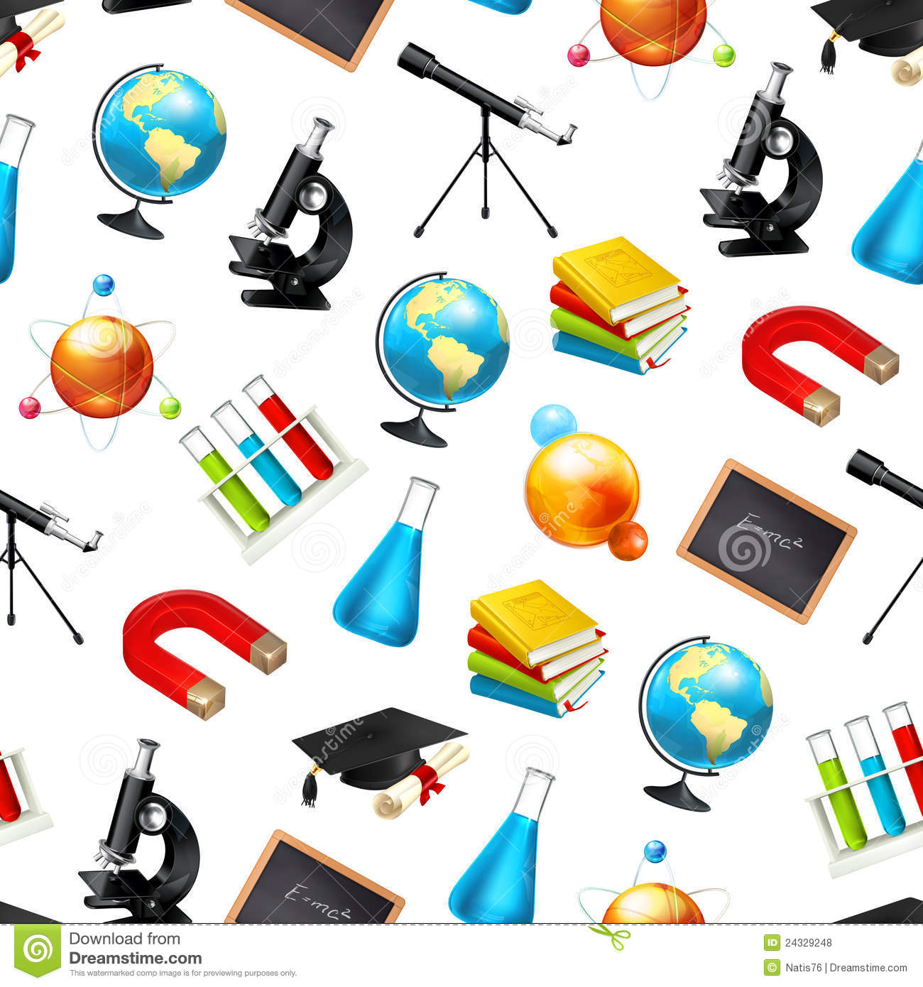 Science Seamless Background Stock Vector Illustration Of Icon Graduation 24329248