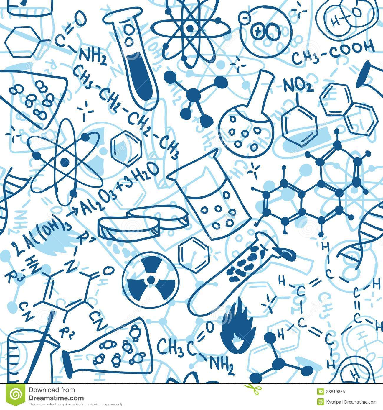 science seamless pattern stock vector illustration of biology