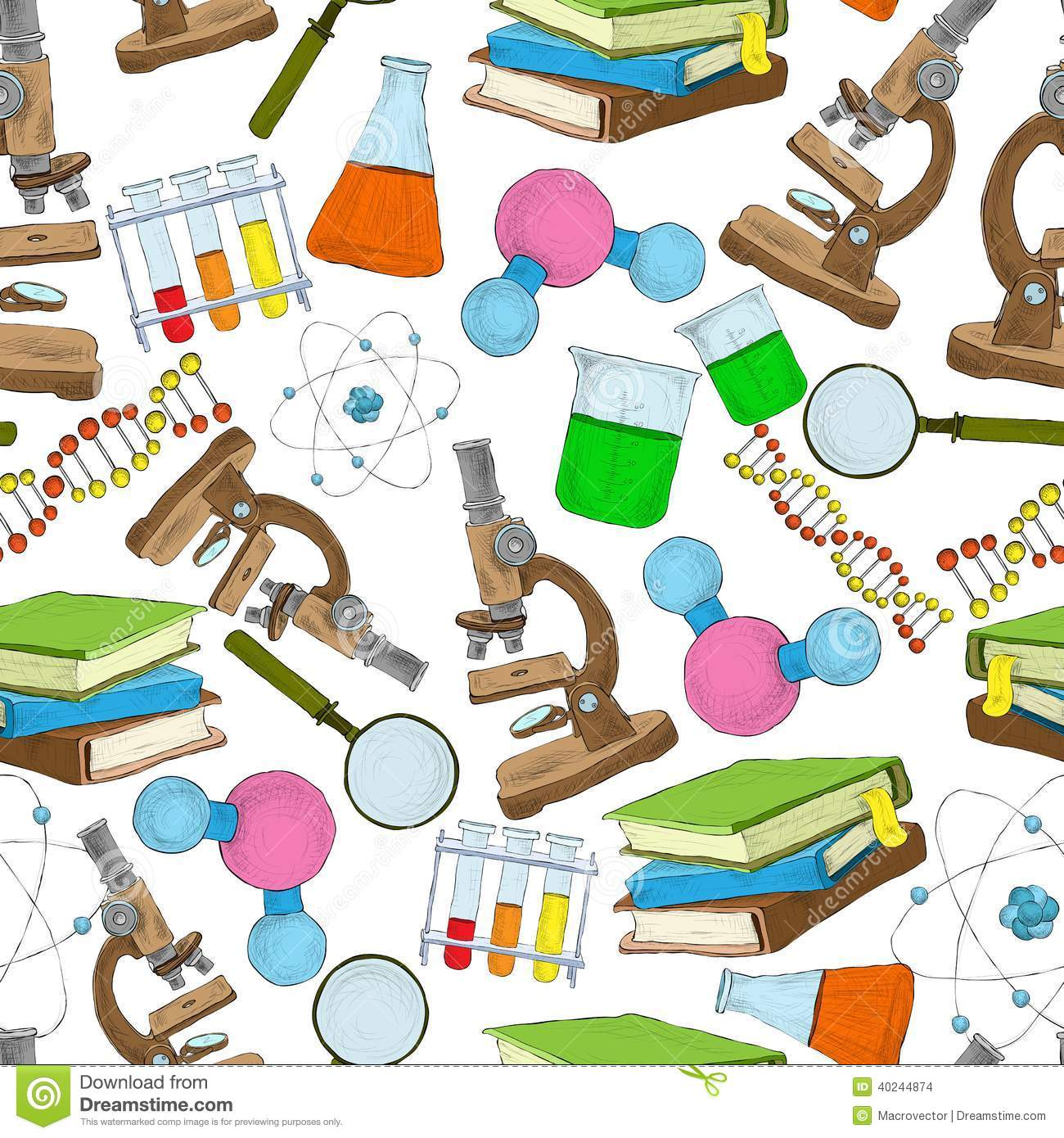 Science education sketch seamless wallpaper with atom structure flask ...