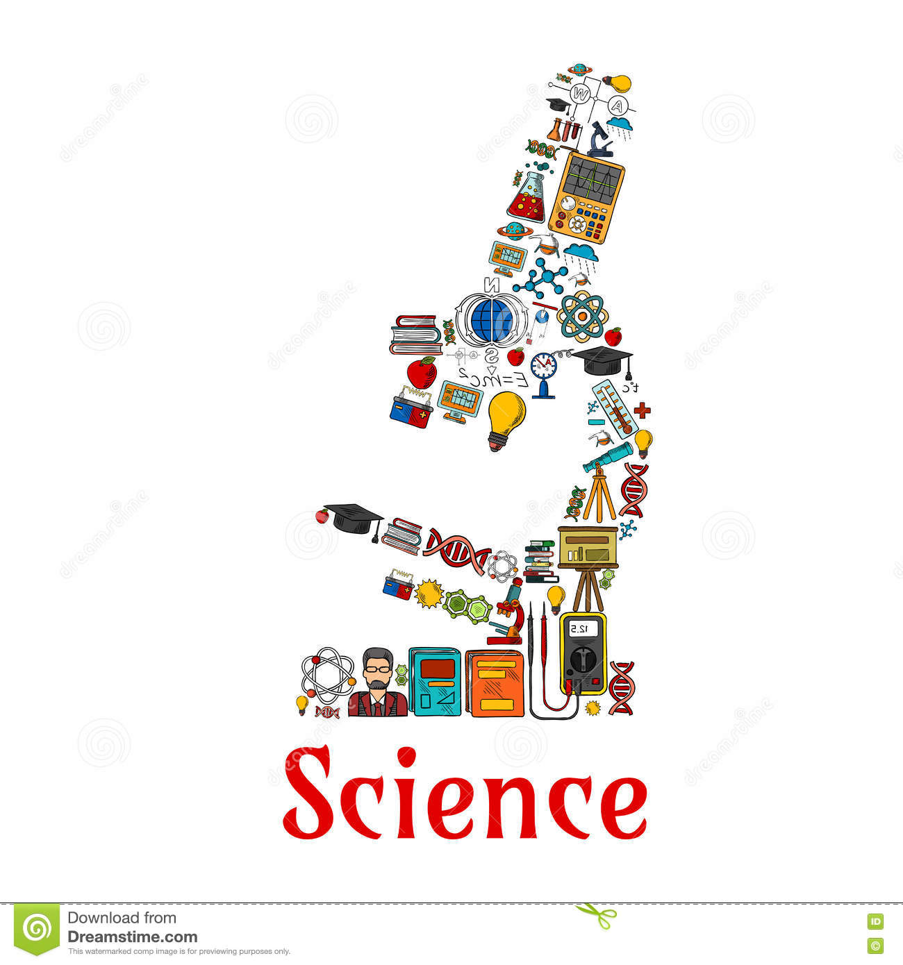 Science Symbol In Shape Of Microscope Stock Vector Illustration Of