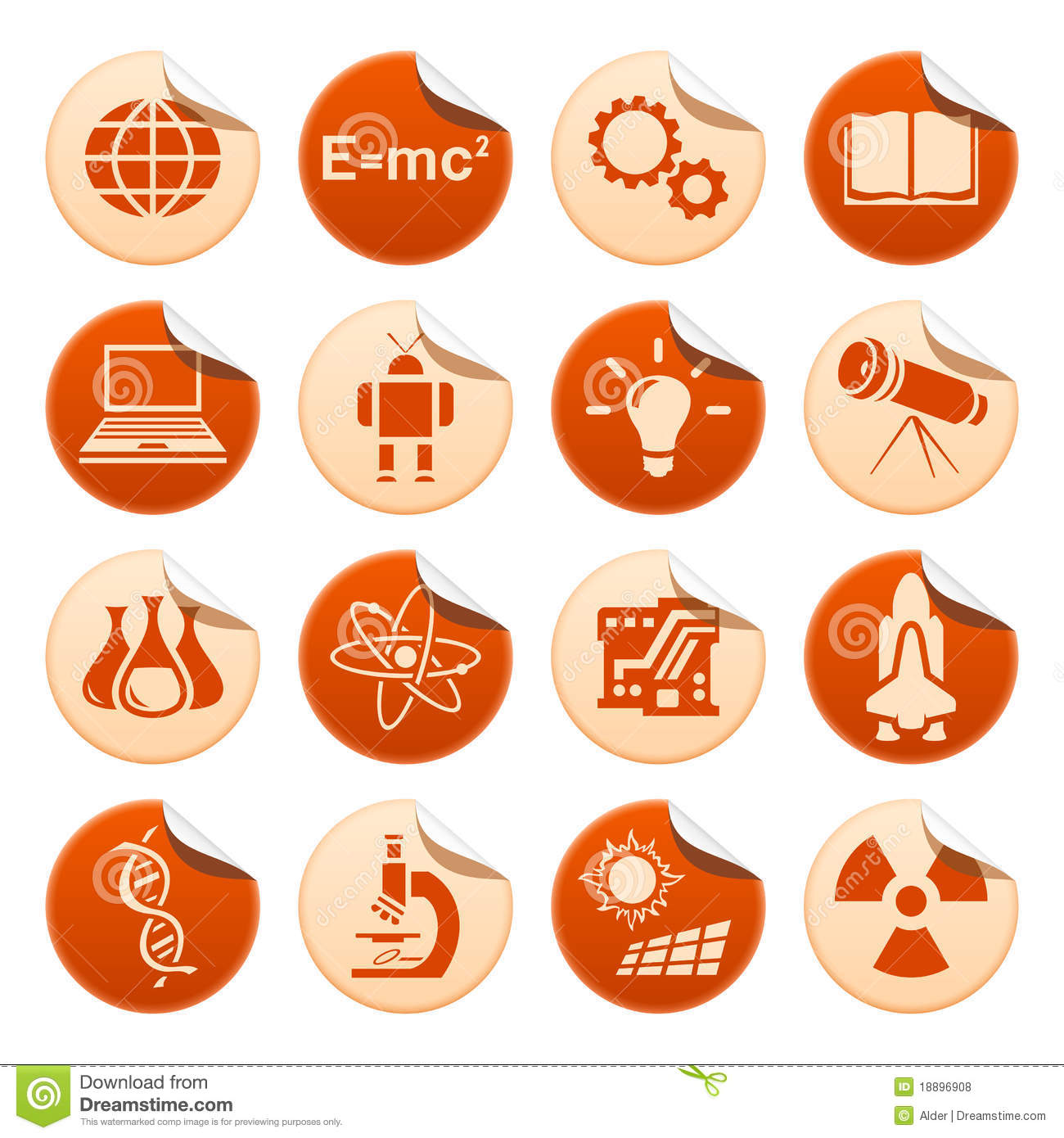 Science Technology: Science & Technology Stickers Stock Illustration