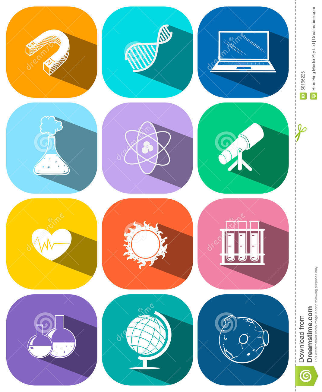 science and technology symbols on buttons stock vector