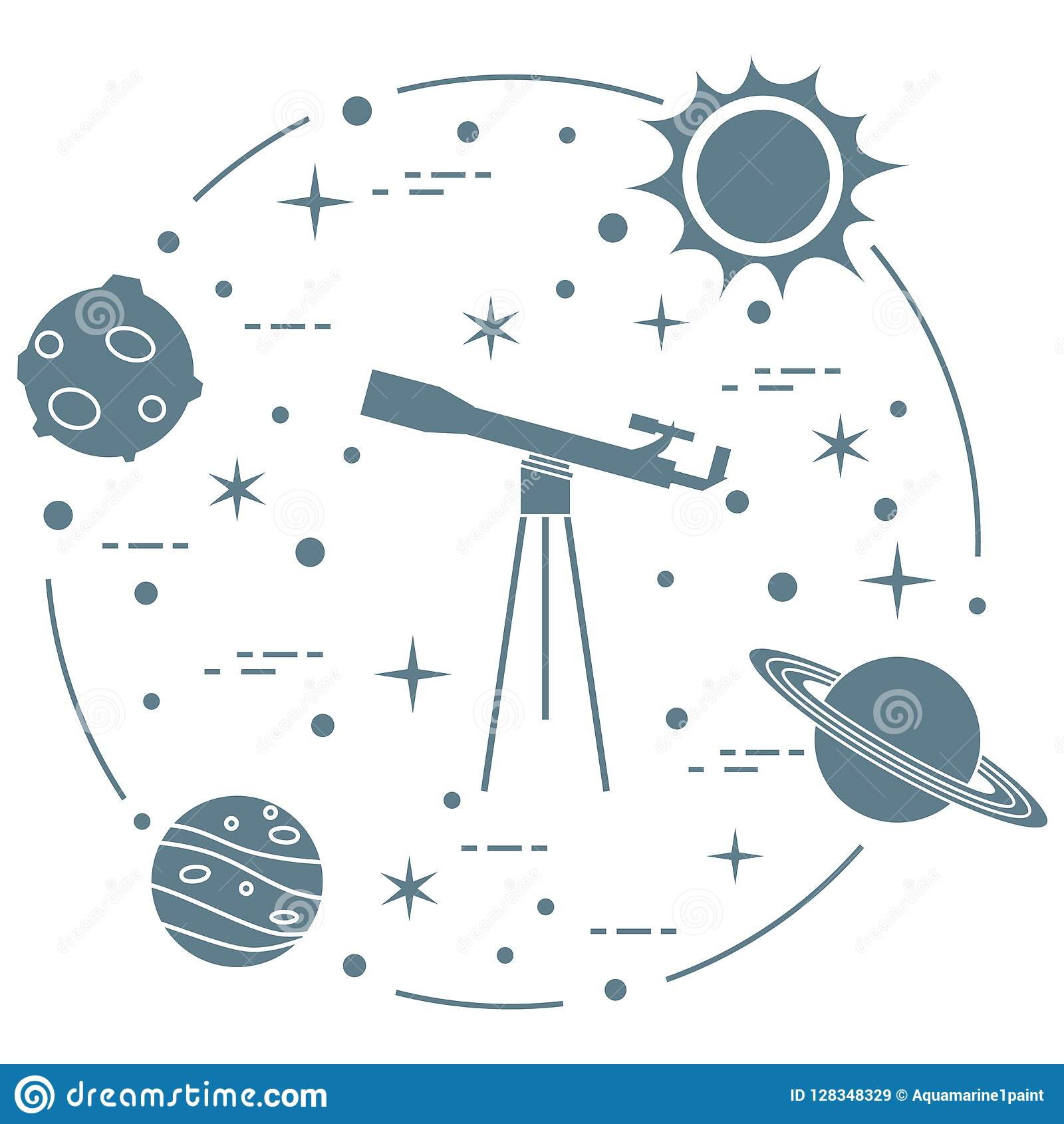 Science: telescope, sun, moon, planets, stars.