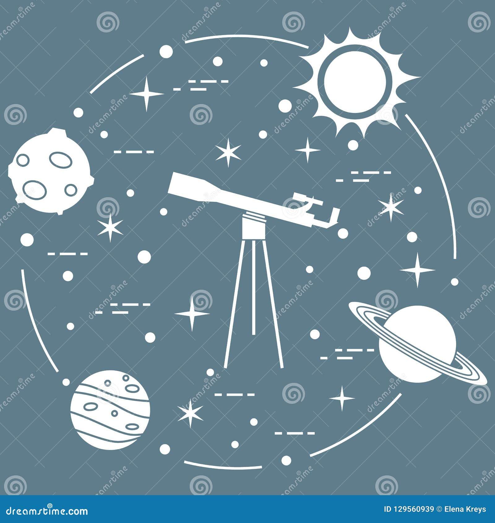 Science: telescope, sun, moon, planets, stars.