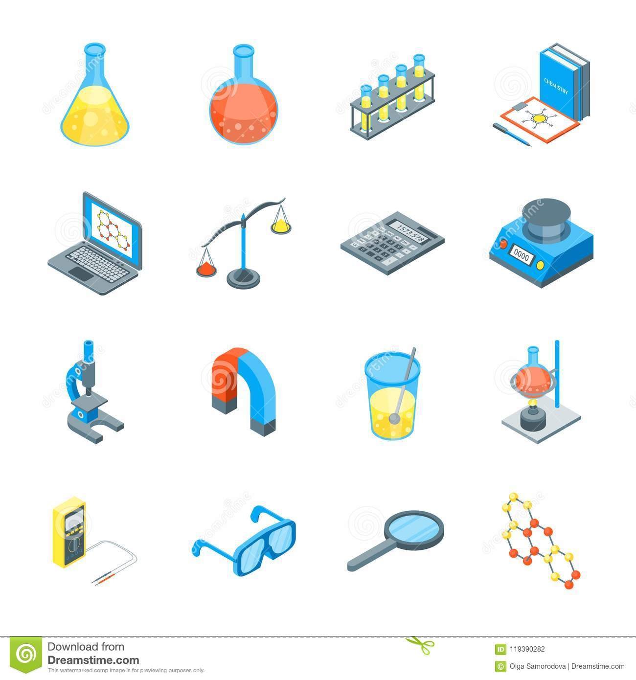 tools science vector isometric elements icons 3d instrument preview chemistry