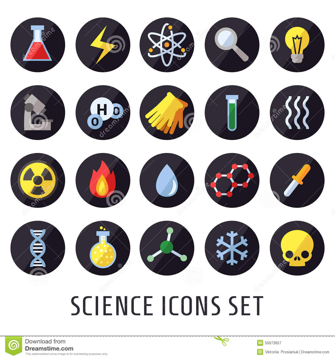 Science vector icons. Chemistry, Physics and Biology. Modern flat design.