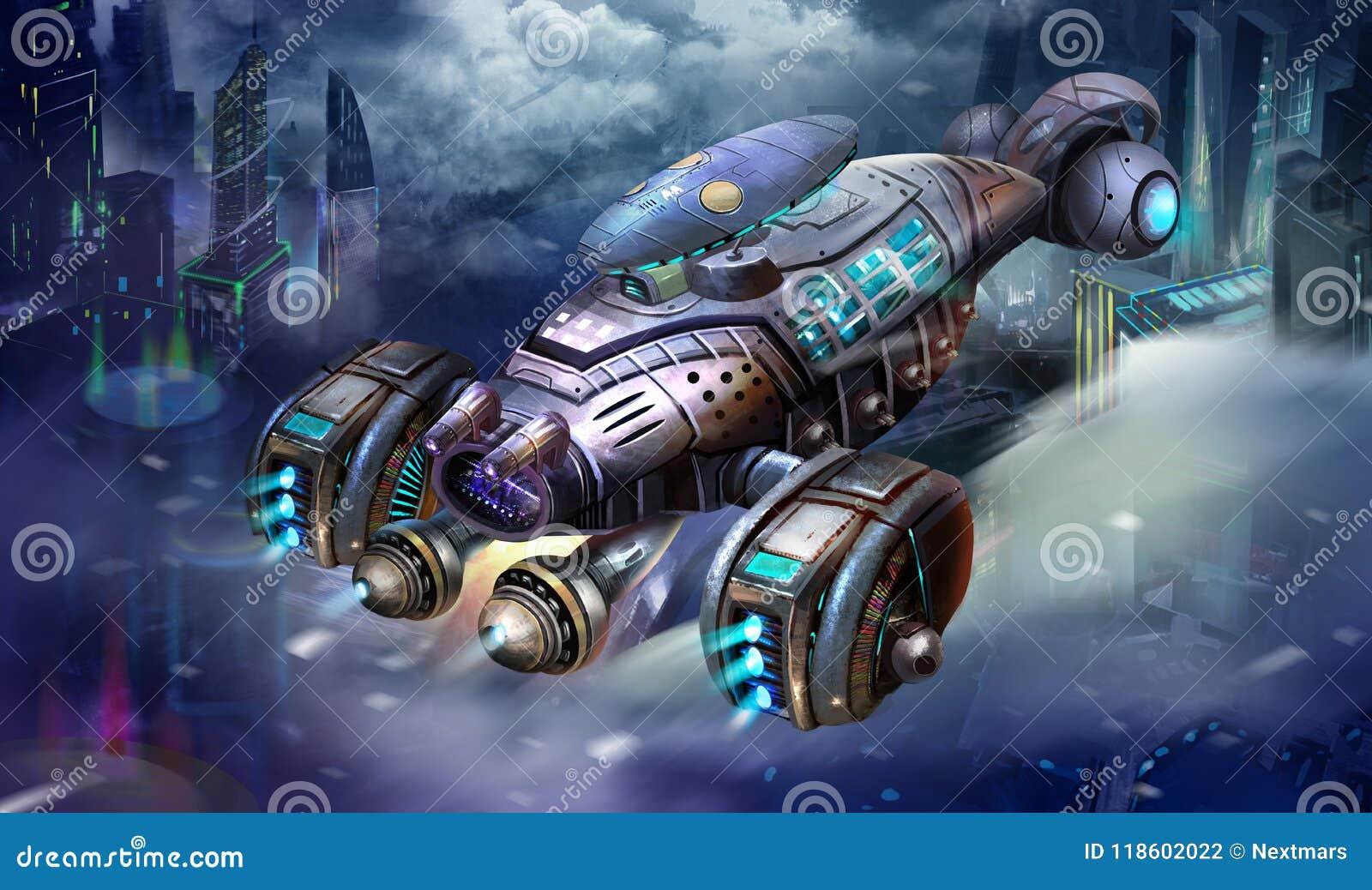 Sciencefictions-Flugzeuge, das Garnelen-Raumschiff, Zukunftsroman-Raumfahrzeug-und Stadt-Szene mit fantastischer, realistischer u
