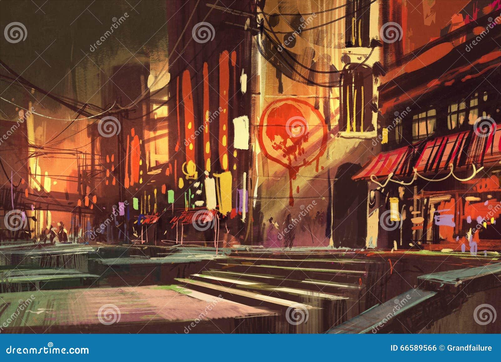 Sciencefictionsszene, die Einkaufsstraße, futuristisches Stadtbild zeigt