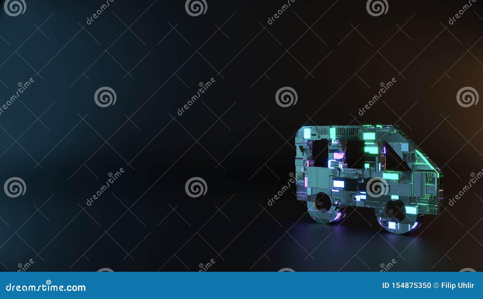 Sciencemetallsymbol av sidosikten av en busssymbol att framföra