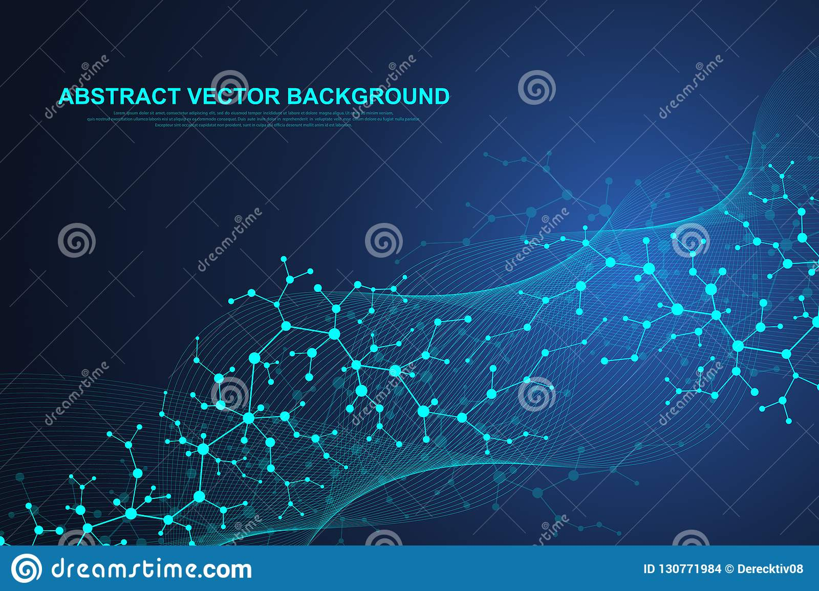 Scientific molecule background for medicine, science, technology, chemistry. Waves flow. Wallpaper or banner with a DNA