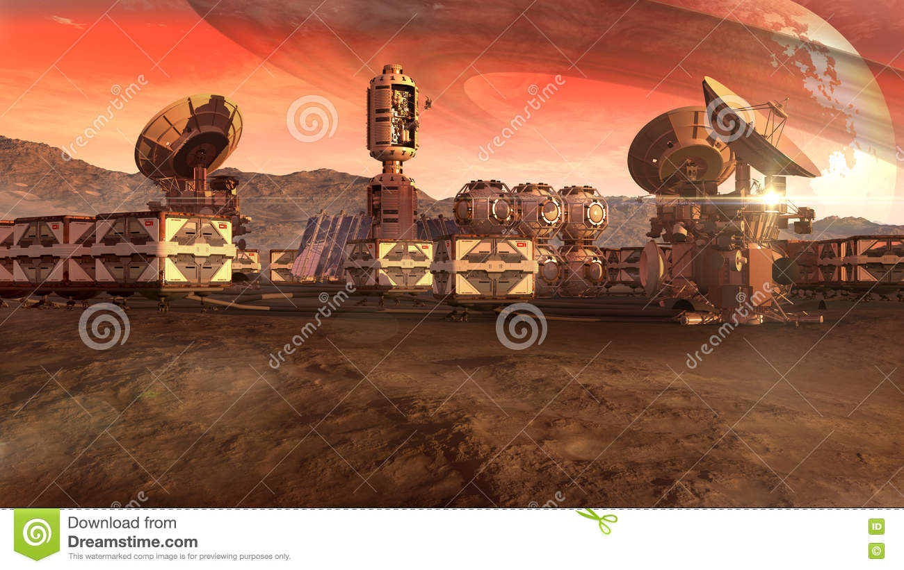 Scientific Settlement On A Mars Like Planet Stock