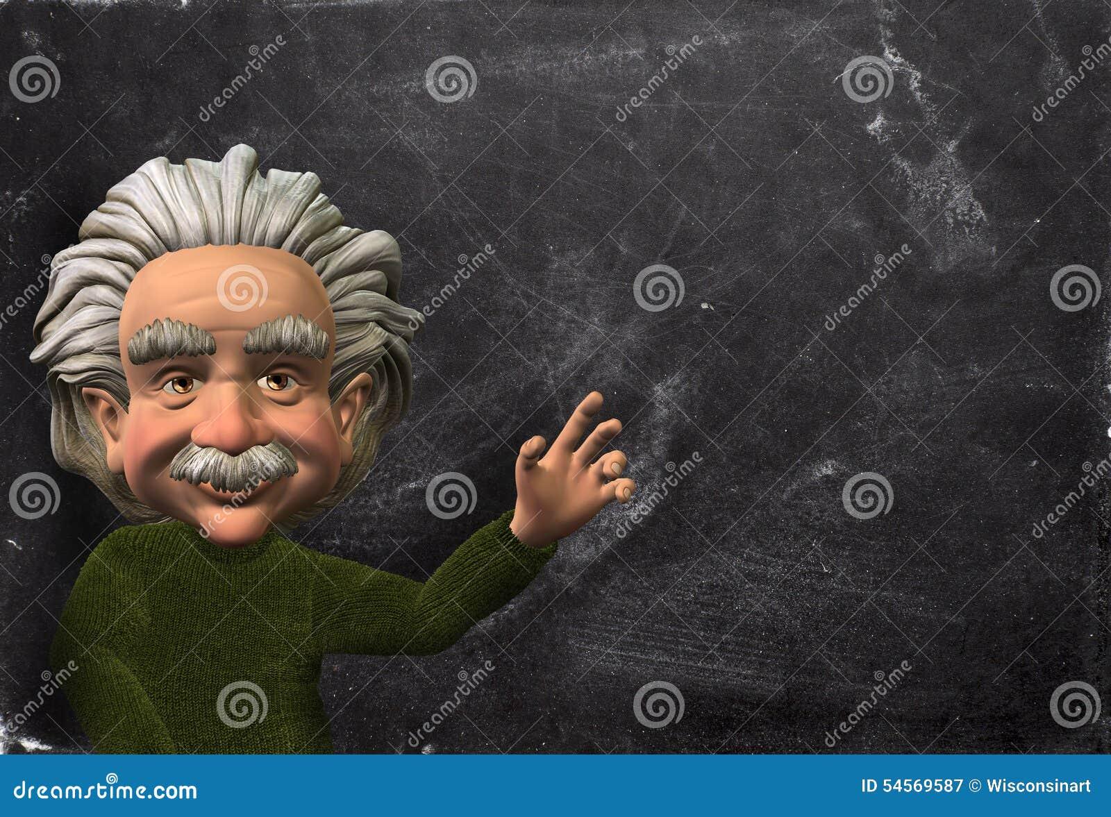 Caricature deinstein ou illustration de scientifique de bande dessinée avec un fond de tableau concept pour votre texte ou produit ici peut être employé
