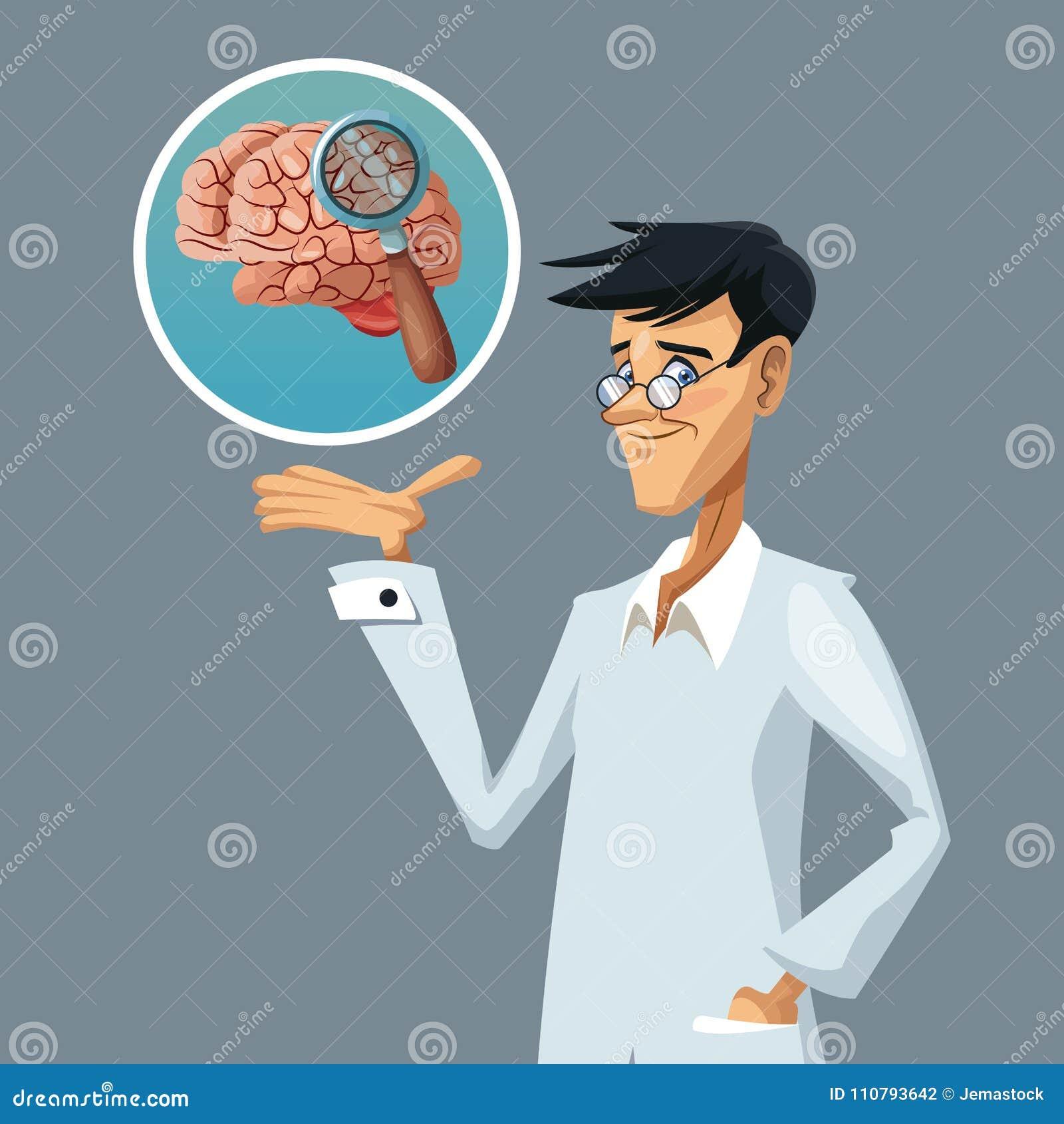 Scientifique réaliste de plan rapproché d affiche de couleur avec la recherche au cerveau