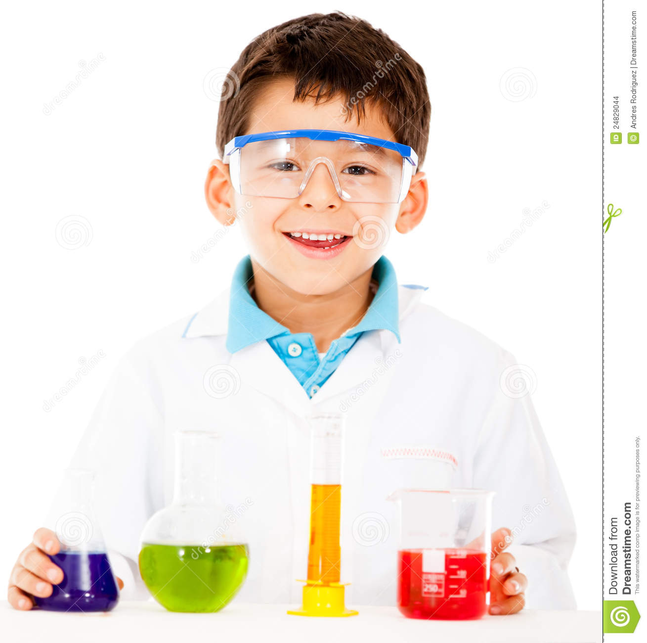 Scientist boy with test tubes - isolated over a white background.