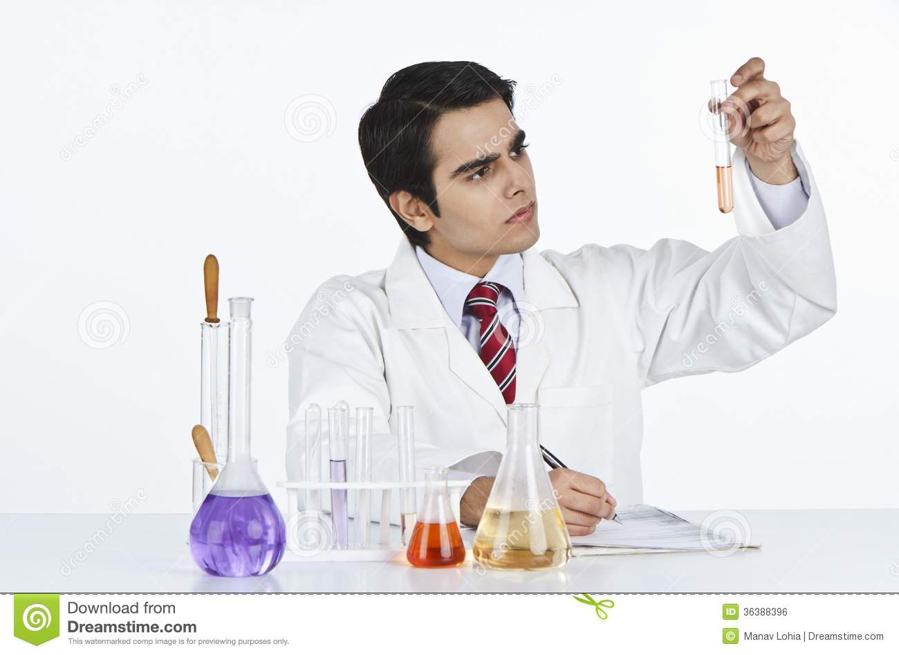 Scientist Doing Scientific Experiment In A Laboratory Royalty Free ...