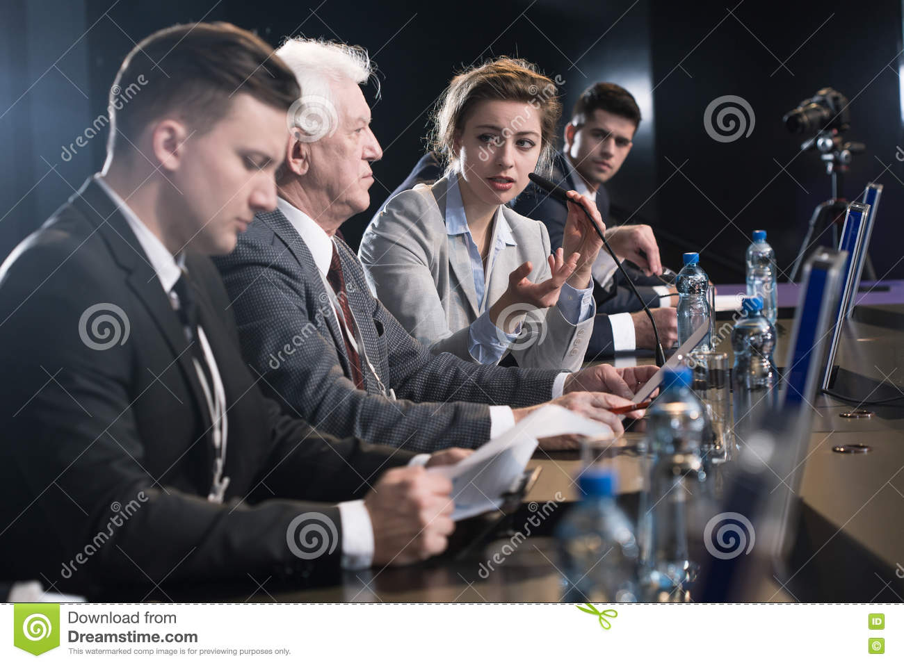 Scientist Education Debate Stock Photo Image Of Conference 71322390