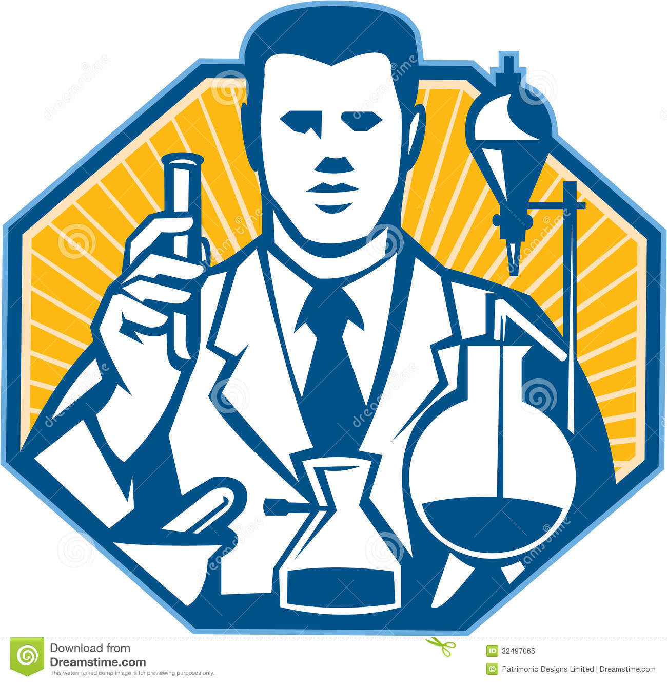 Scientist lab researcher chemist retro stock vector for Retro images