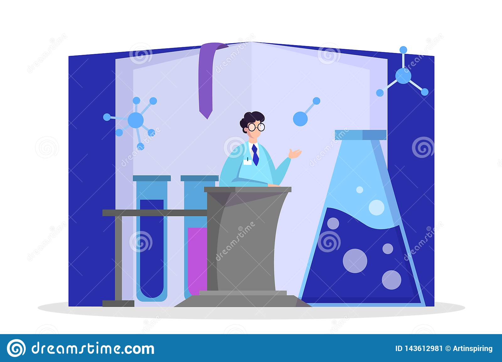 Scientist making medical research. Laboratory equipment vector