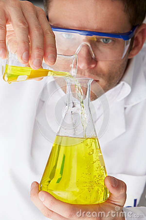 Download Scientist Pouring Liquid From Test Tube Into Flask Stock Image - Image of protective, laboratory: 37722835