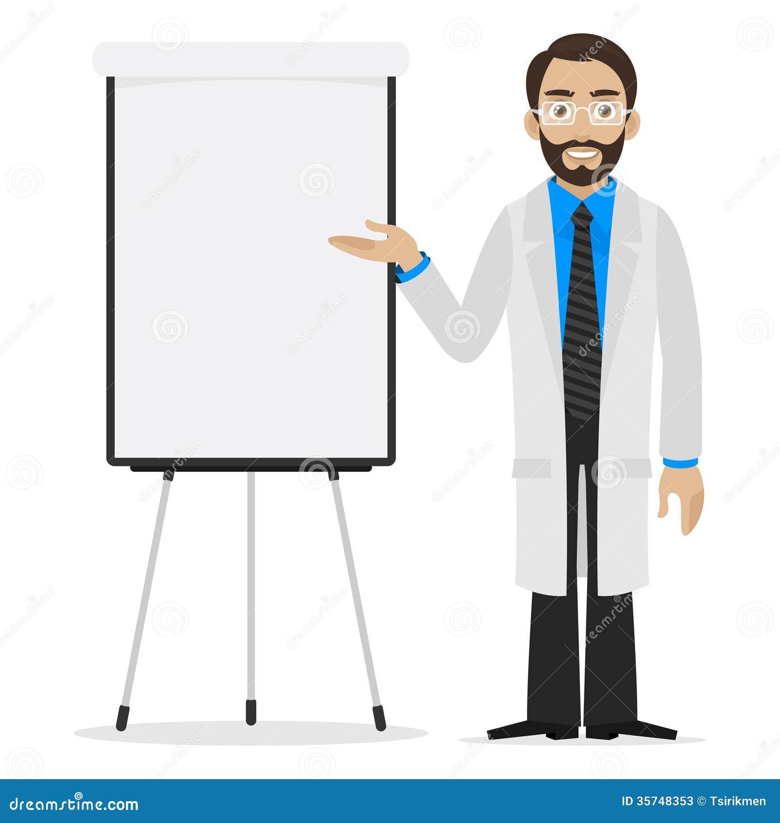 Scientist Specifies On Flipchart Stock Photos Image