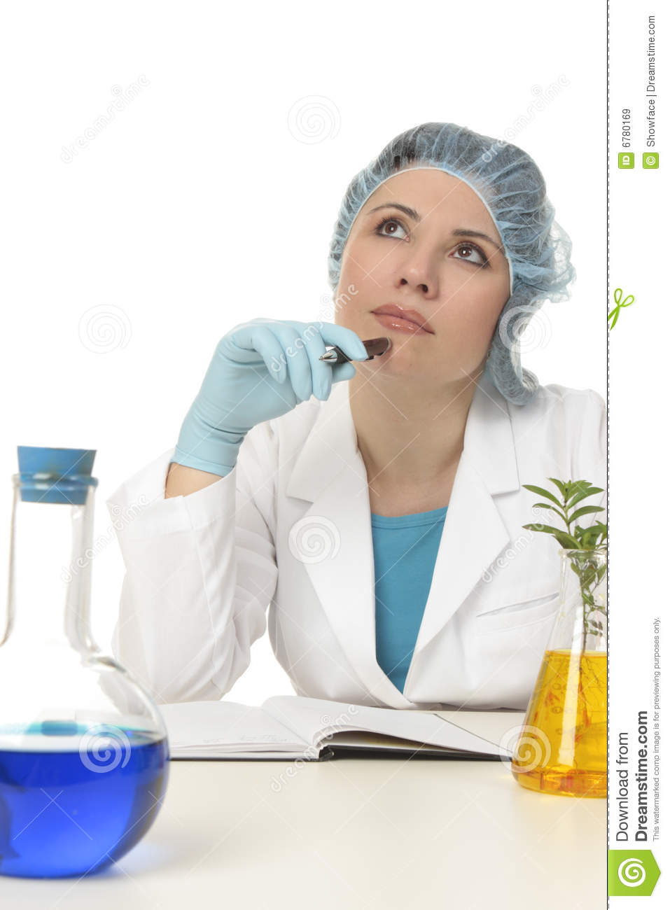 Contemplative scientist, botanist or researcher sitting in laboratory.