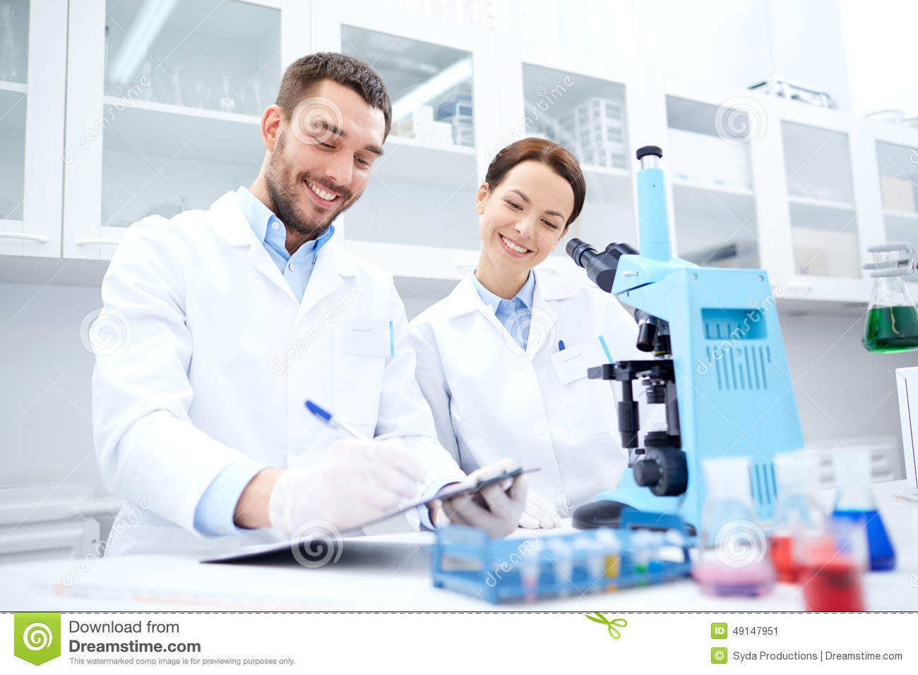 lab scientists microscope science biology research chemistry clipboard technology industry young making chemists preview