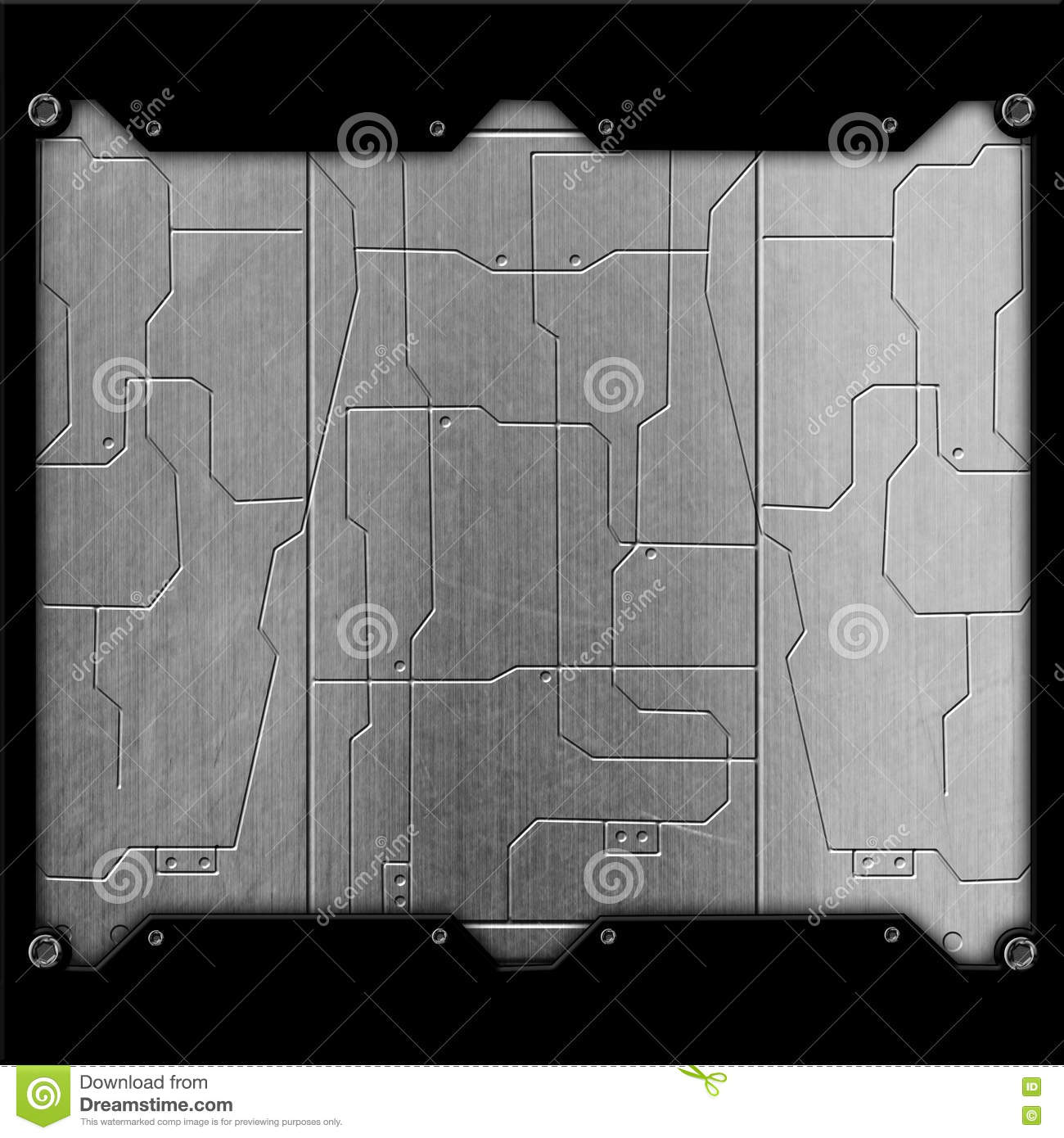 Scifi Wall. Chrome Metal Wall And Circuits. Metal Background Stock ...