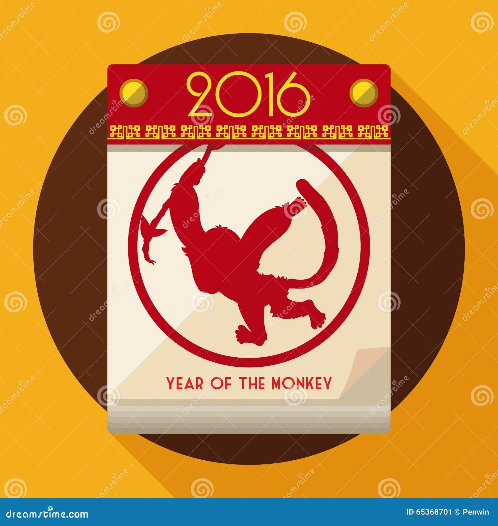 Scimmia allegra che appende nel calendario, illustrazione di vettore