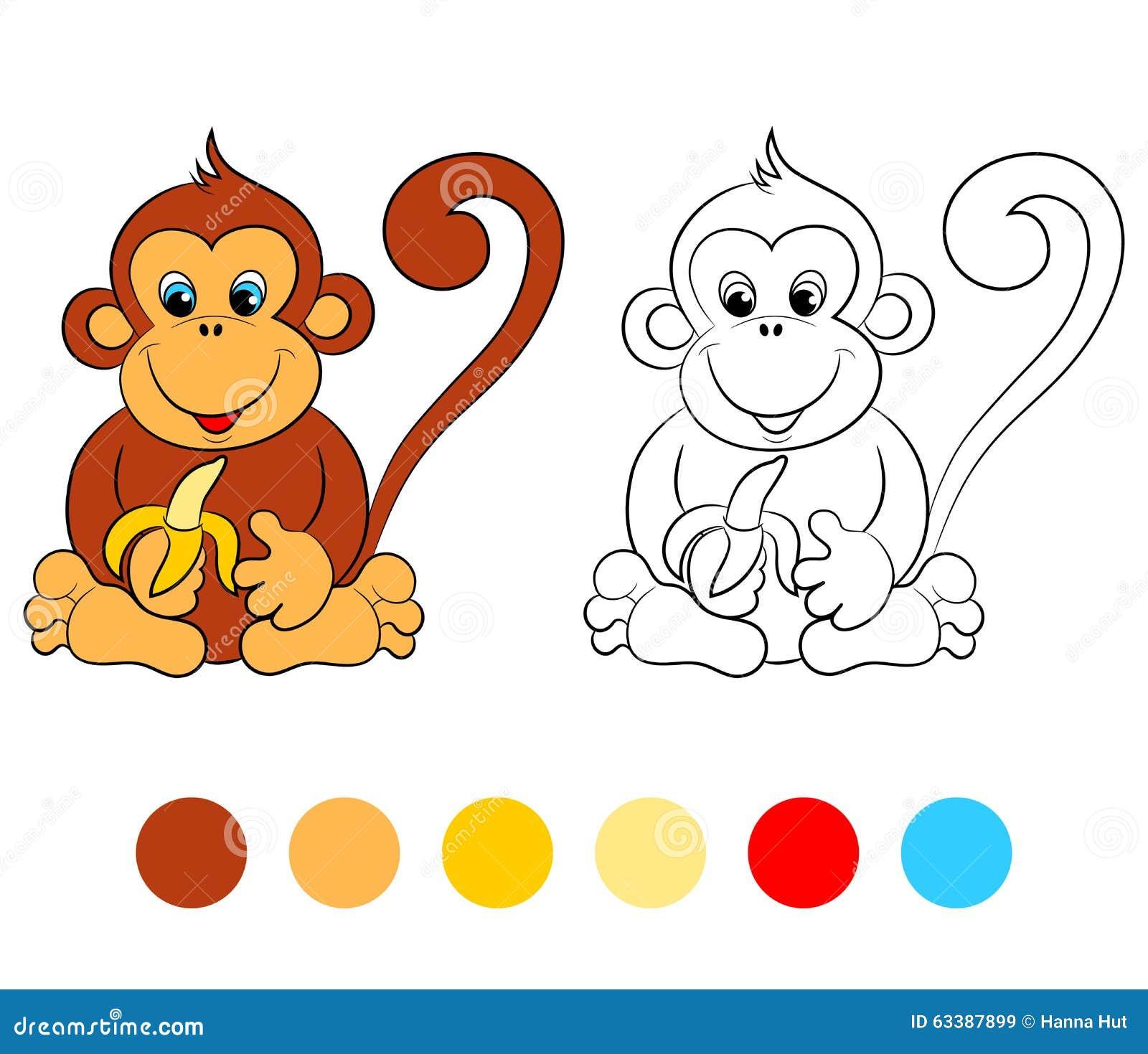 Scimmia Del Libro Da Colorare Disposizione Dei Bambini Per Il