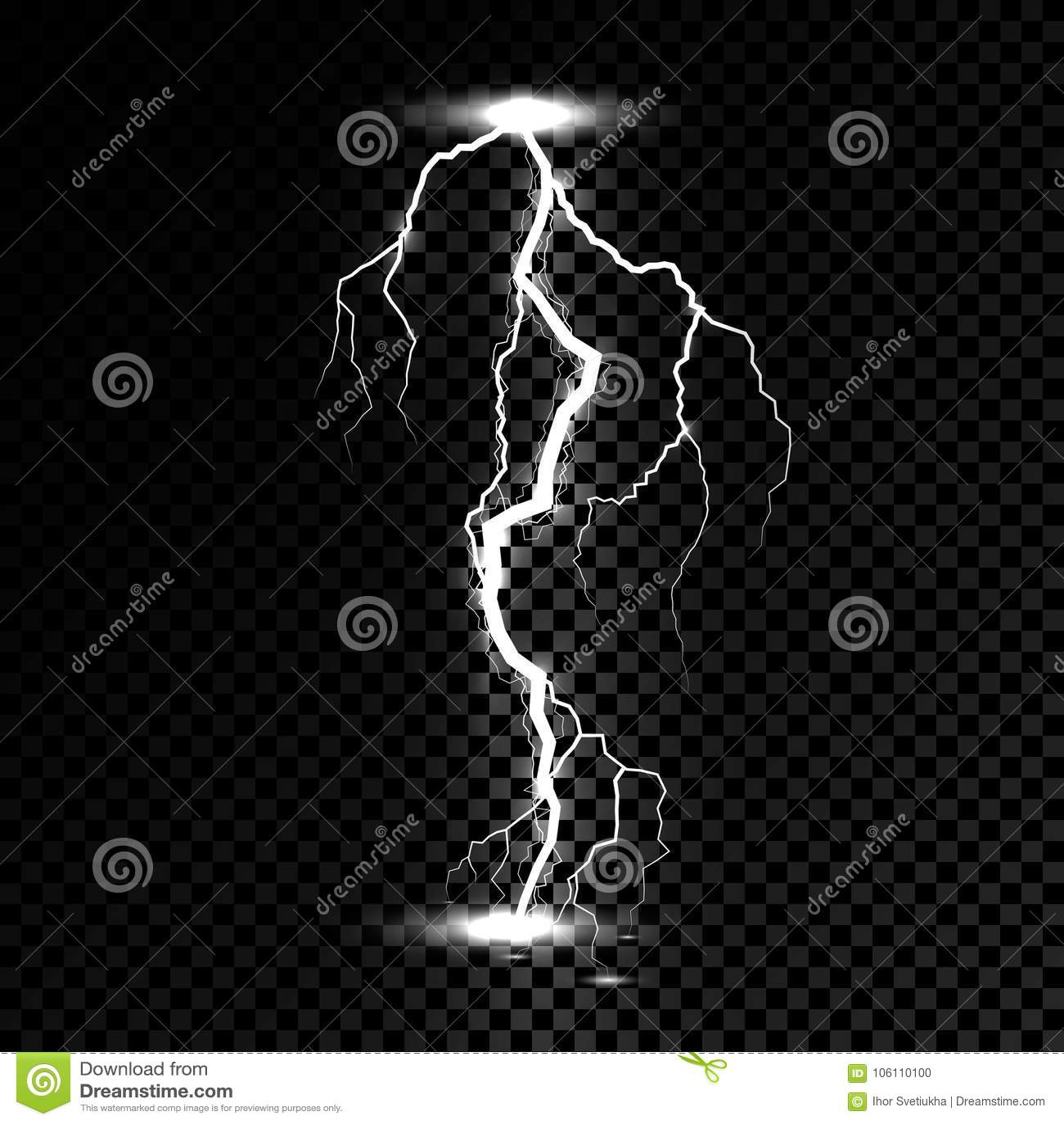 Scintilla leggera di tuono del folgore Vector il fulmine del bullone o tempesta o colpo di fulmine di scoppio dell elettricità su